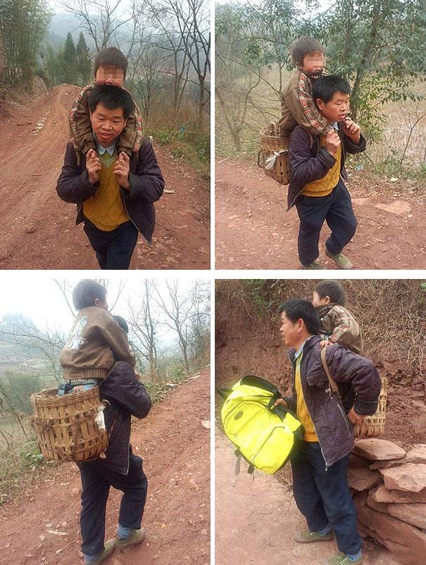 ჩინელ მამას ყოველ დღე მიჰყავს თავისი უნარშეზღუდული ვაჟი სკოლაში, რომელიც სახლიდან 28 კილომეტრის მოშორებითაა.